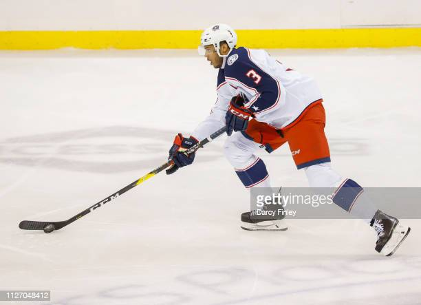 Seth Jones of the Columbus Blue Jackets plays he puck down the ice during second period action against the Winnipeg Jets at the Bell MTS Place on...