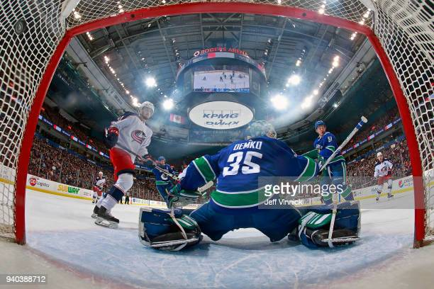Seth Jones of the Columbus Blue Jackets scores on Thatcher Demko of the Vancouver Canucks during their NHL game at Rogers Arena March 31 2018 in...