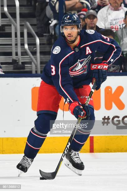 Seth Jones of the Columbus Blue Jackets skates against the Washington Capitals in Game Six of the Eastern Conference First Round during the 2018 NHL...