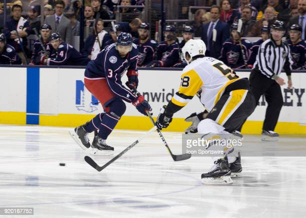 Seth Jones of the Columbus Blue Jackets skates to the puck during third period of the game between the Columbus Blue Jackets and the Pittsburgh...