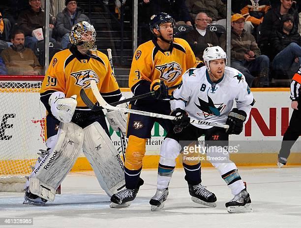 Seth Jones of the Nashville Predators defends against Joe Pavelski of the San Jose Sharks in front of Predators goalie Marek Mazanec at Bridgestone...