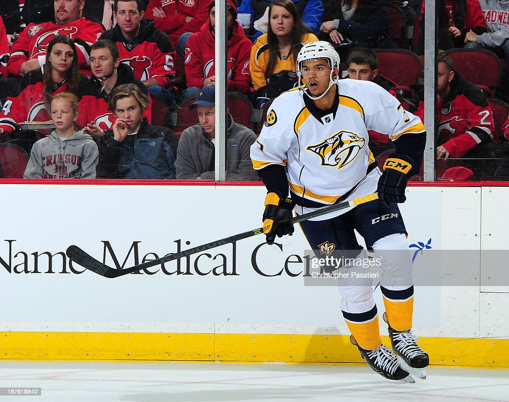 Seth Jones #3 of the Nashville Predators skates during the second period against the New Jersey Devils on November 10, 2013 at the Prudential Center in Newark, New Jersey.