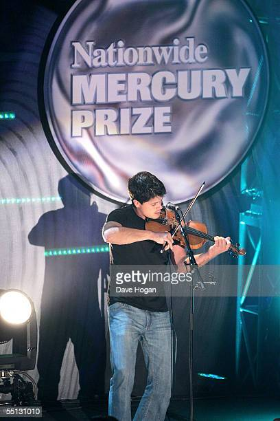 Seth Lakeman performs at the annual Nationwide Mercury Prize music awards ceremony at Grosvenor House on September 6 2005 in London England