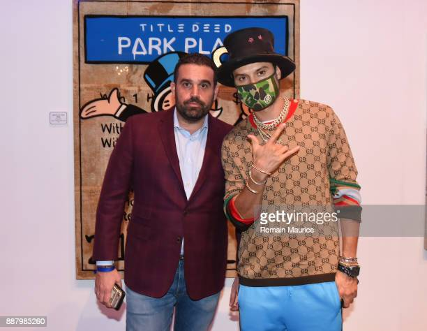 Seth Leminof and Alec Monopoly attend Haute Living's VIP PopUp Opening of Alec Monopoly from Art Life and David Yarrow from Maddox Gallery at Fleur...