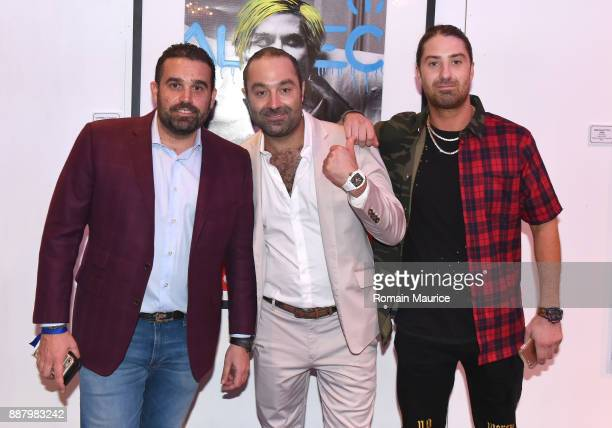 Seth Leminof Avery Andon and Arlis Andon attend Haute Living's VIP PopUp Opening of Alec Monopoly from Art Life and David Yarrow from Maddox Gallery...