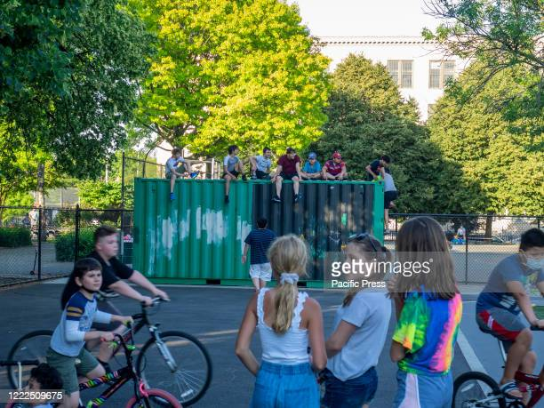 Seth Low playground open to the public as New York City enters phase 2 of reopening after numbers of infections of COVID-19 went down. People enjoy...