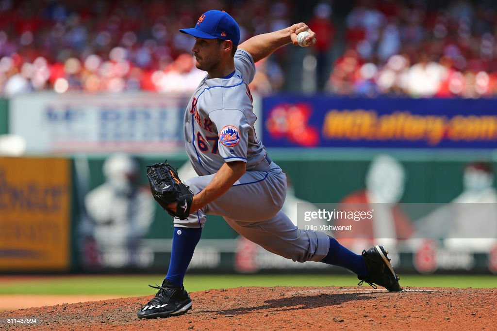 Seth Lugo #67 of the New York Mets delivers a pitch against the St. Louis Cardinals in the sixth inning at Busch Stadium on July 9, 2017 in St. Louis, Missouri.