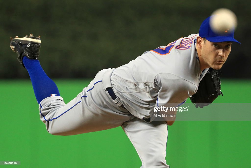 Seth Lugo #67 of the New York Mets pitches during a game against the Miami Marlins at Marlins Park on June 29, 2017 in Miami, Florida.