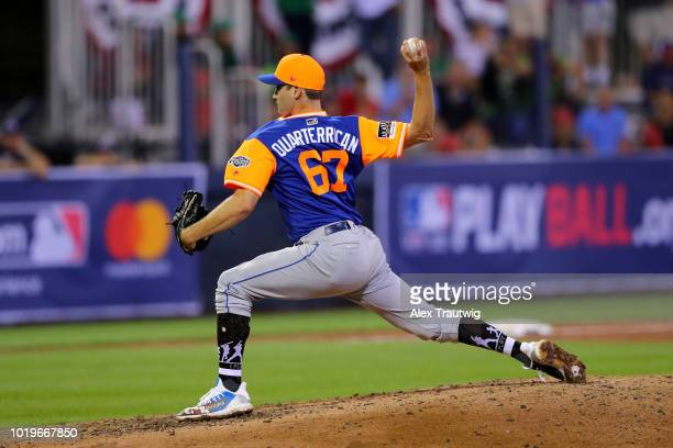 Seth Lugo of the New York Mets pitches during the 2018 Little League Classic against the Philadelphia Phillies at Historic Bowman Field on Sunday...