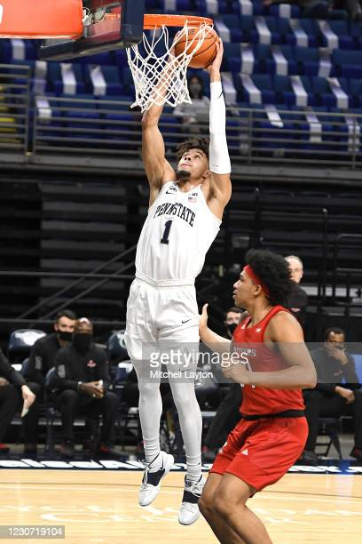 Seth Lundy of the Penn State Nittany Lions goes for a dunk in the first half a college basketball game against the against the Rutgers Scarlet...