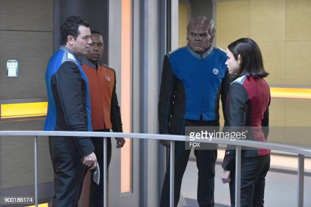 Seth MacFarlane J Lee Peter Macon and Halston Sage in the 'Firestorm' episode of THE ORVILLE airing Thursday Nov 16 on FOX