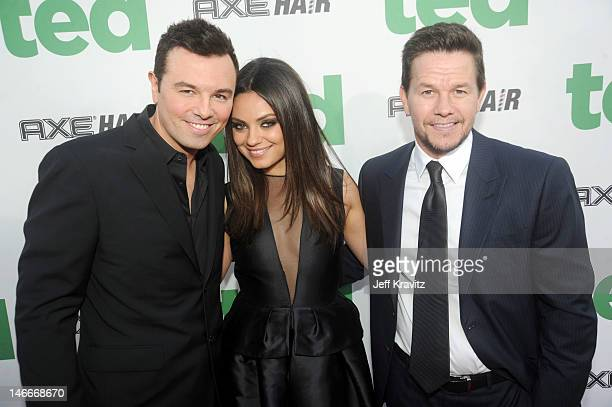 Seth MacFarlane Mila Kunis and Mark Wahlberg arrive for the premiere of 'Ted' at Grauman's Chinese Theatre on June 21 2012 in Hollywood California