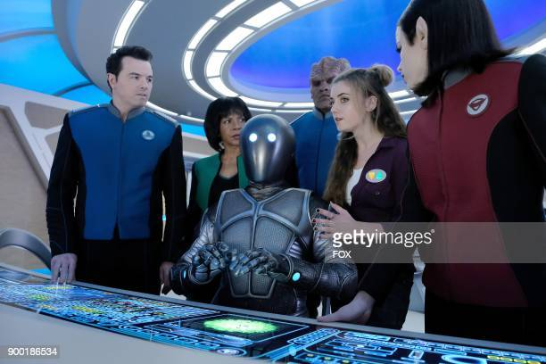 Seth MacFarlane Penny Johnson Jerald Mark Jackson Peter Macon guest star Giorgia Whigham and Halston Sage in the Majority Rule episode of THE ORVILLE...