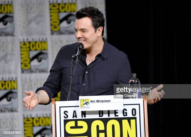 Seth MacFarlane speaks onstage at the American Dad and Family Guy Panel during ComicCon International 2018 at San Diego Convention Center on July 21...