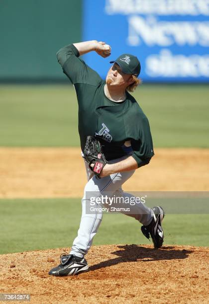 Seth McClung of the Tampa Bay Devil Rays delivers the pitch during a Spring Training game against the Pittsburgh Pirates on March 8, 2007 at...