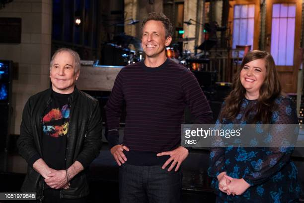 LIVE Seth Meyers 1749 Pictured Musical Guest Paul Simon Host Seth Meyers Aidy Bryant in Studio 8H during a promo