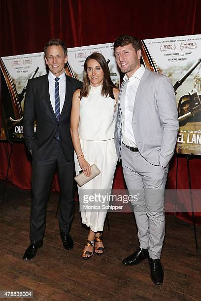Seth Meyers Alexi Ashe and director Matthew Heineman attend Seth Meyers With The Orchard The Cinema Society Host A Special Screening Of Cartel Land...