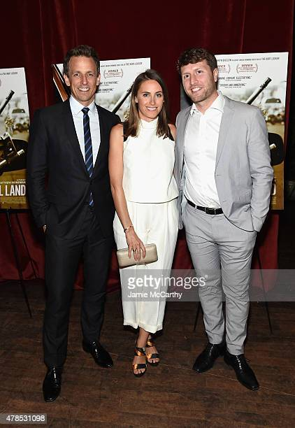 Seth Meyers Alexi Ashe and Matthew Heineman attend Seth Meyers with the Orchard and the Cinema Society Host a Special Screening of Cartel Land at...