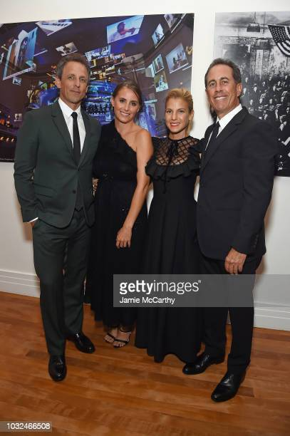 Seth Meyers Alexi Ashe Jessica Seinfeld and Jerry Seinfeld attend the 2018 GOOD Foundation's Evening of Comedy Music Benefit presented by Samsung...