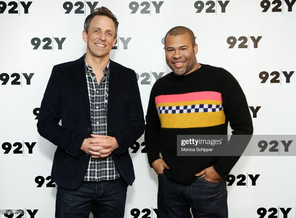 Seth Meyers (L) and actor and filmmaker Jordan Peele attend 92Y Presents Get Out: Jordan Peele In Conversation With Seth Meyers at 92nd Street Y on November 14, 2017 in New York City.