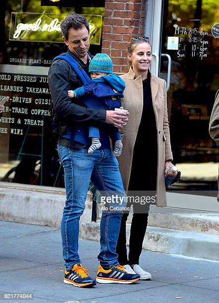 Seth Meyers and Alexi Ashe are seen waiting in line to vote in the West Village on November 8 2016 in New York City