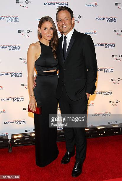 Seth Meyers and Alexi Ashe arrive at the 2014 Kennedy Center's Mark Twain Prize For American Humor honoring Jay Leno at The Kennedy Center on October...