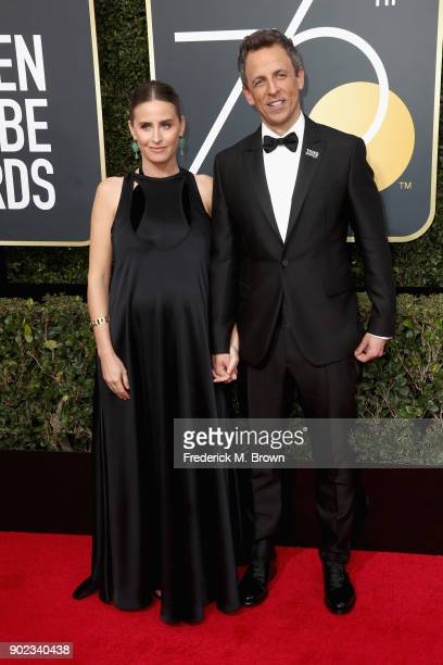 Seth Meyers and Alexi Ashe attend The 75th Annual Golden Globe Awards at The Beverly Hilton Hotel on January 7 2018 in Beverly Hills California