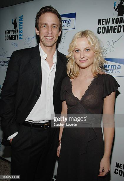 Seth Meyers and Amy Poehler during New York Comedy Festival Kickoff Benefit for Scleroderma Research Foundation at Caroline's Comedy Club in New York...