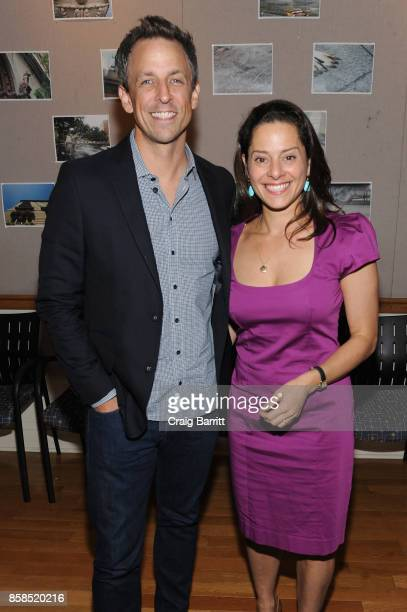 Seth Meyers and Ariel Levy pose backstage during The 2017 New Yorker Festival at New York Society for Ethical Culture on October 6, 2017 in New York...