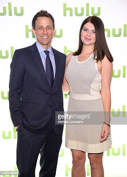 Seth Meyers and Casey Wilson attend Hulu's Upfront Presentation on April 30 2014 in New York City