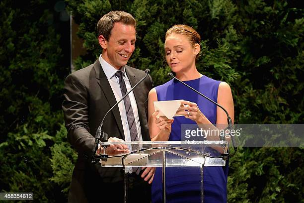 Seth Meyers and designer Stella McCartney speak onstage at the 11th annual CFDA/Vogue Fashion Fund Awards at Spring Studios on November 3 2014 in New...