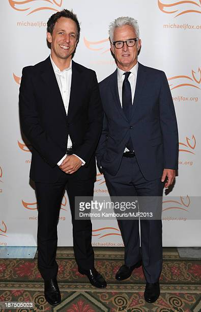 Seth Meyers and John Slattery attend the 2013 A Funny Thing Happened On The Way To Cure Parkinson's event benefiting The Michael J. Fox Foundation...