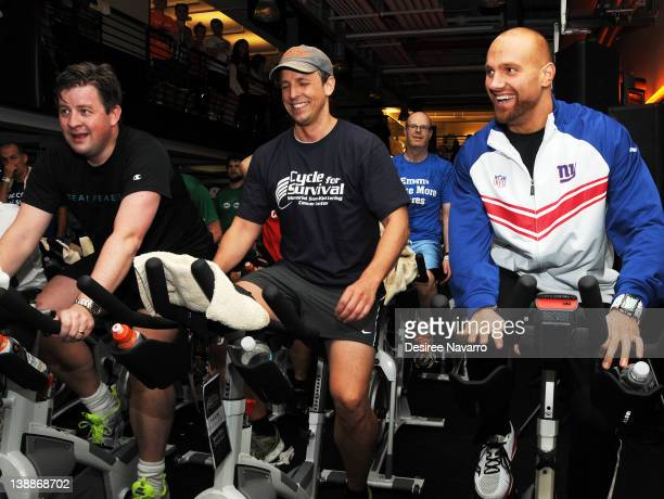 Seth Meyers and New York Giants Linebacker Mark Herzlich cycle at the 2012 Cycle For Survival Day 2 at Equinox Graybar on February 12 2012 in New...