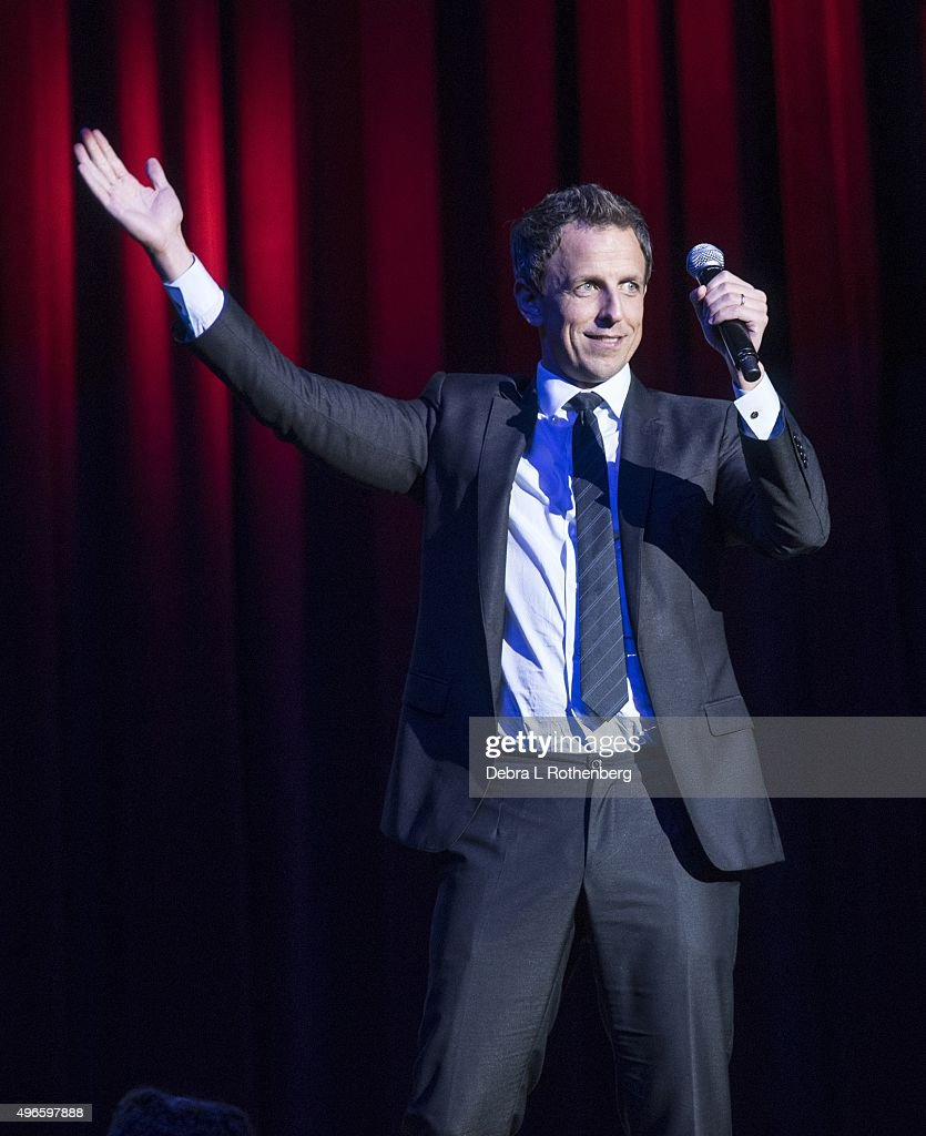 Seth Meyers at the 9th Annual Stand Up For Heroes Event presented by the New York Comedy Festival and the Bob Woodruff Foundation at Madison Square Garden on November 10, 2015 in New York City.