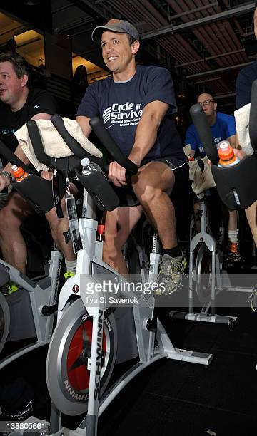Seth Meyers cycles at 2012 Cycle For Survival - Day 2 at Equinox Graybar on February 12, 2012 in New York City.
