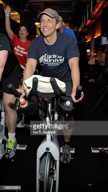 Seth Meyers cycles at the 2012 Cycle For Survival - Day 2 at Equinox Graybar on February 12, 2012 in New York City.