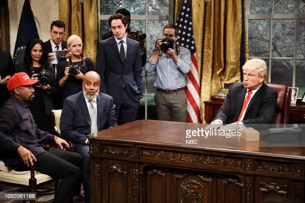 LIVE Seth Meyers Episode 1749 Pictured Chris Redd as Kanye West Kenan Thompson as Jim Brown Pete Davidson Alec Baldwin as President Donald Trump...
