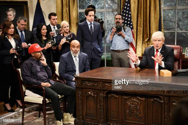 LIVE Seth Meyers Episode 1749 Pictured Chris Redd as Kanye West Kenan Thompson as Jim Brown Pete Davidson Alec Baldwin as President Donald Trump...