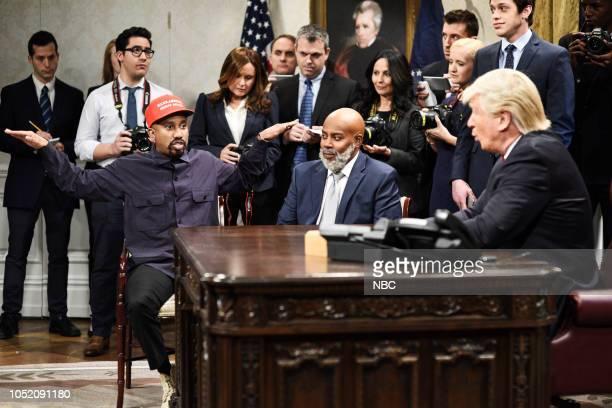 LIVE 'Seth Meyers' Episode 1749 Pictured Chris Redd as Kanye West Kenan Thompson as Jim Brown Pete Davidson Alec Baldwin as President Donald Trump...