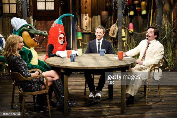 LIVE Seth Meyers Episode 1749 Pictured Heidi Gardner as Taylor Swift Kate McKinnon Seth Meyers as himself Beck Bennett as Bayou Benny during Bayou...