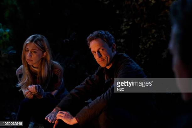 """Seth Meyers"""" Episode 1749 -- Pictured: Heidi Gardner, Seth Meyers during """"Scary Story"""" on Saturday, October 13, 2018 --"""