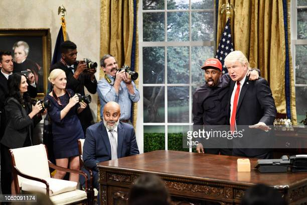 LIVE Seth Meyers Episode 1749 Pictured Kenan Thompson as Jim Brown Chris Redd as Kanye West Alec Baldwin as President Donald Trump during Kanye Trump...