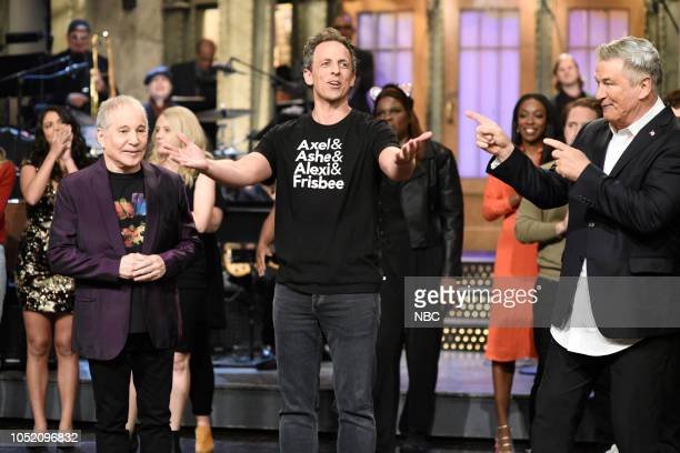 LIVE 'Seth Meyers' Episode 1749 Pictured Musical Guest Paul Simon Host Seth Meyers Alec Baldwin in Studio 8H on Saturday October 13 2018