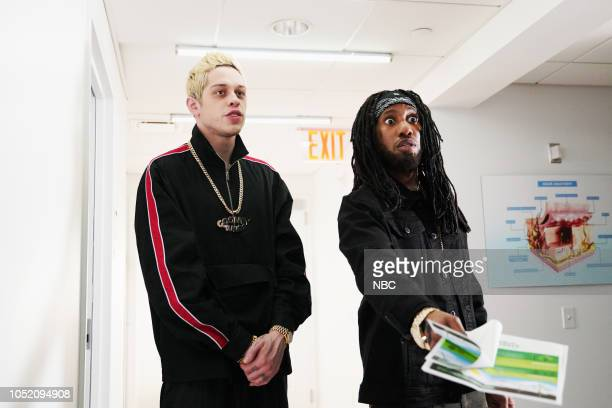 LIVE Seth Meyers Episode 1749 Pictured Pete Davidson Chris Redd during Trees on Saturday October 13 2018