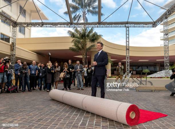 Seth Meyers host of the 75th Annual Golden Globes Awards poses for photos on January 4 2018 in Beverly Hills California