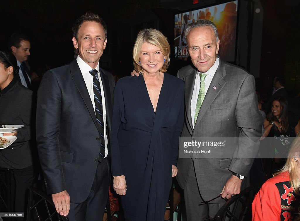 Seth Meyers, Martha Stewart and Senior United States Senator of New York Chuck Schumer attend the 2015 Friends of Hudson River Park Gala at Hudson River Park's Pier 62 on October 8, 2015 in New York City.