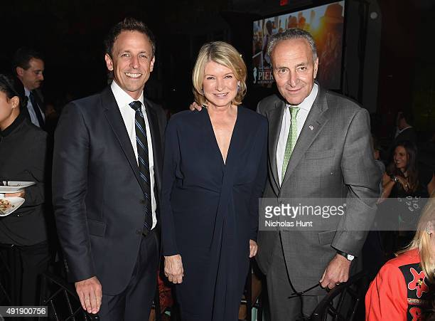 Seth Meyers Martha Stewart and Senior United States Senator of New York Chuck Schumer attend the 2015 Friends of Hudson River Park Gala at Hudson...