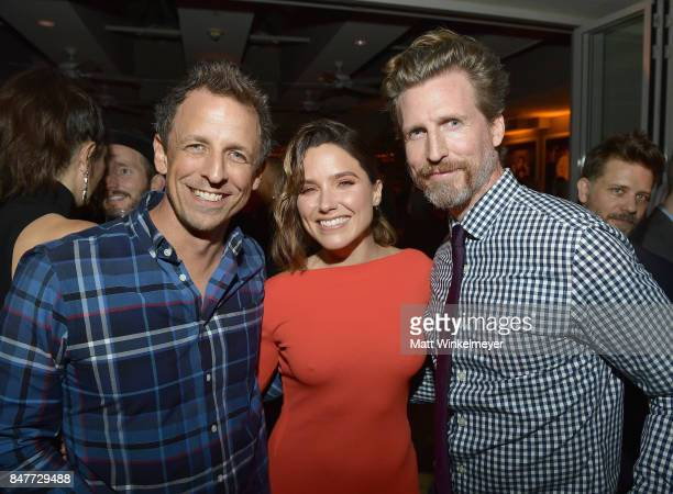 Seth Meyers Sophia Bush and Josh Meyers attend the 2017 Entertainment Weekly PreEmmy Party at Sunset Tower on September 15 2017 in West Hollywood...