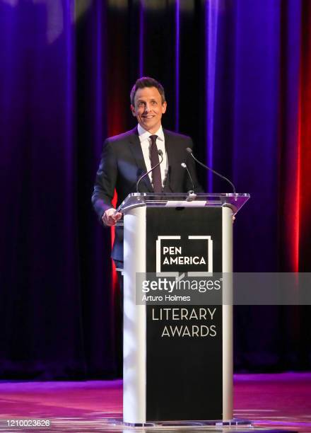 Seth Meyers speaks on stage during the 2020 PEN America Literary Awards at The Town Hall on March 02 2020 in New York City