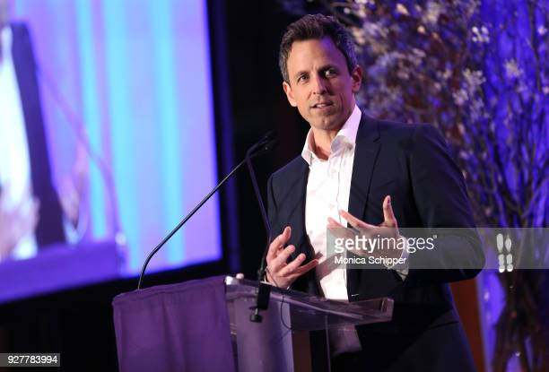 Seth Meyers speaks on stage during the NYU Langone Health's 2018 FACES Gala at Pier Sixty at Chelsea Piers on March 5 2018 in New York City
